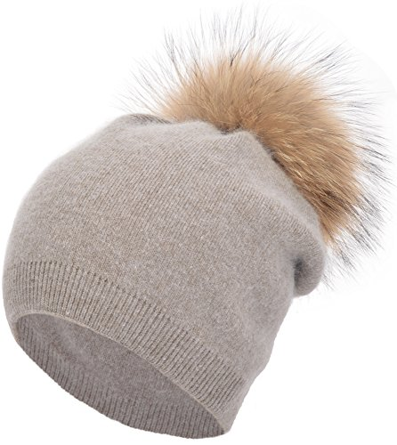 EASTER BARTHE Womens Grils Winter Warm Solid Double-Deck Cashmere Wool Blend Removable Raccoon Fur Pompom Winter Warm Knit Beanie Slouchy Skull Hat Cap (Khaki)
