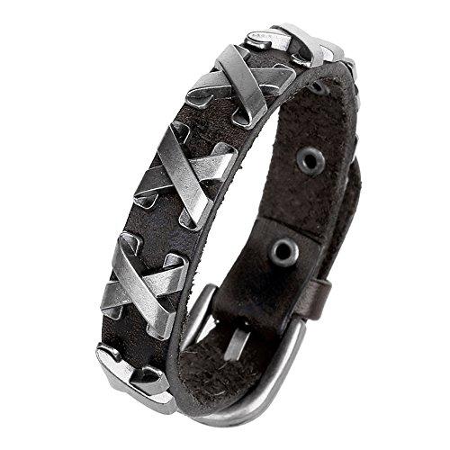 Polytree Stylish Leather Wristband Bracelet