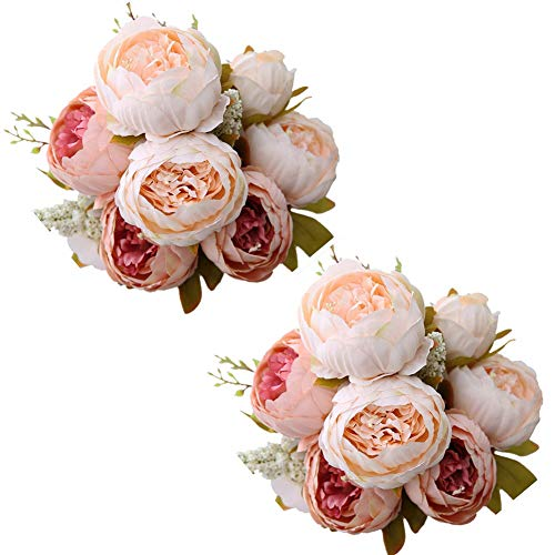 Fule 2 Pack Large Artificial Peony Silk Flower Bouquets Arrangement Wedding Centerpieces (Light Pink) -