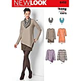 NEW LOOK Patterns Misses' Easy Knit Dress and Tunics with Scarf Size: A (8-10-12-14-16-18-20), 6412