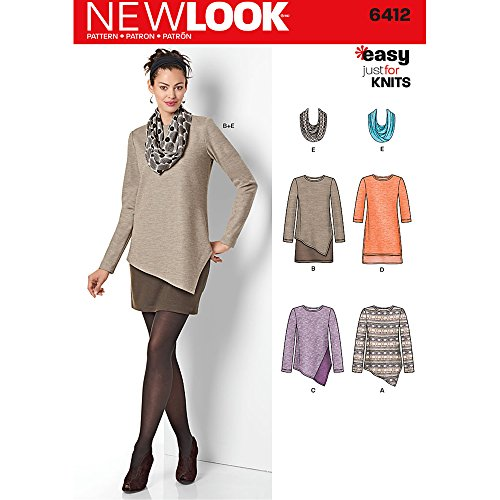 NEW LOOK Patterns Misses' Easy Knit Dress and Tunics with Scarf Size: A (8-10-12-14-16-18-20), 6412 by New Look