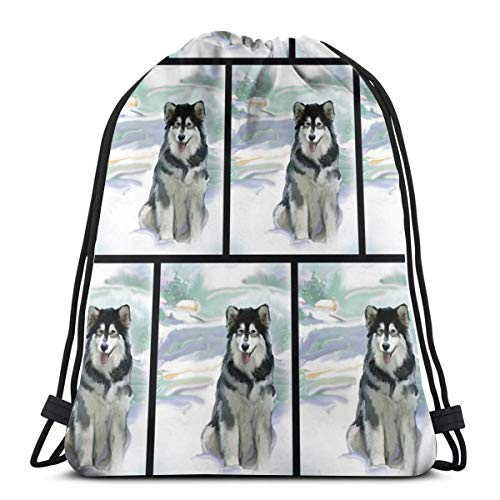 Alaskan Malamute In The Snow_6853 Drawstring Backpack Gym Spacious Pull String Backpack for Sport School Traveling Gym Basketball Yoga 13x18 inch13x18 inch