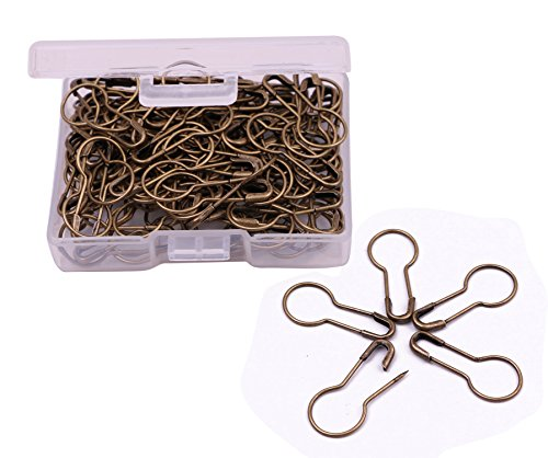 Shapenty 21mm/0.8 Inch Small Metal Gourd Safety Pins Bulb Guard Calabash Quilting Sewing Pin Bead Needles for DIY Craft Home Accessories, 120PCS (Bronze)