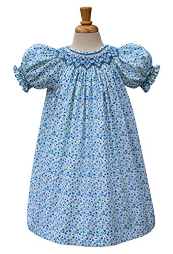 Smocked Bishop Hand - Carouselwear Girls Hand Smocked Dress In Floral Blue Pattern and Ankle Length