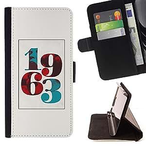 BullDog Case - FOR/Apple Iphone 5 / 5S / - / 1963 BORN POSTER VINTAGE YEAR NUMBER /- Monedero de cuero de la PU Llevar cubierta de la caja con el ID Credit Card Slots Flip funda de cuer