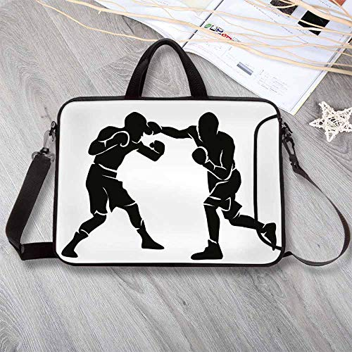 (Sports Anti-Seismic Neoprene Laptop Bag,Black Silhouettes of Professional Boxers Fighters Combative Exercise Punch Attack Decorative Laptop Bag for Travel Office School,8.7