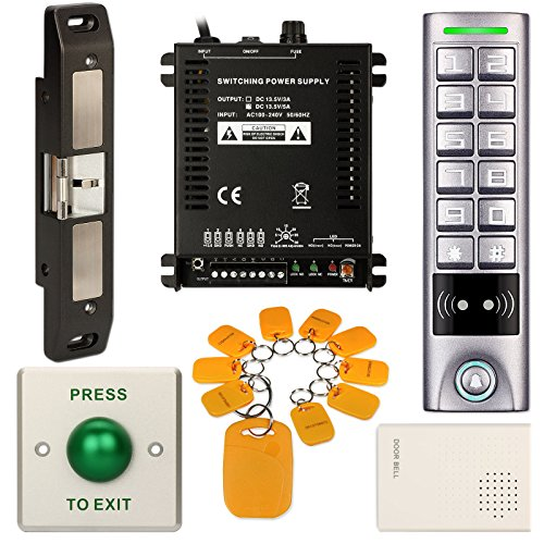 DIY Access Control Waterproof Keypad Office RFID Key Ring Entry System Kit + Electric Strike for Push Bar Door Lock