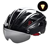 VICTGOAL Bike Helmet for Men Women with Safety Led Back Light Detachable Magnetic Goggles Visor Mountain & Road Bicycle Helmets Adjustable Adult Cycling Helmets (New Black) For Sale