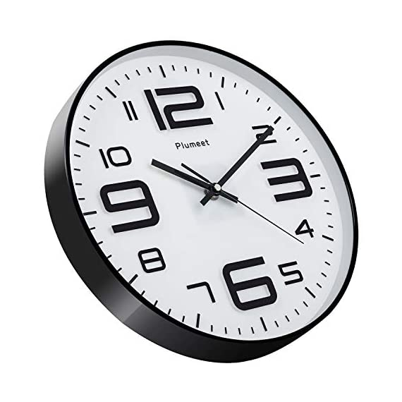 """Plumeet Silent Wall Clocks - 12"""" Non-Ticking Quartz Large Decorative Clocks - Big 3D Number Good for Living Room Home Office Battery Operated (White) - Wall Clock for Bedroom -- Large black numbers bulged out over white dial face, super quiet, easily to see and read 12'' diameter round frame. Eye Catching Numeric -- Four extra large 3D numbers makes it easier to read from any corner of your room. Super Silent -- Precise quartz movements to guarantee accurate time, quiet sweep second hand ensure a good sleeping and work environment. - wall-clocks, living-room-decor, living-room - 512175PqC8L. SS570  -"""