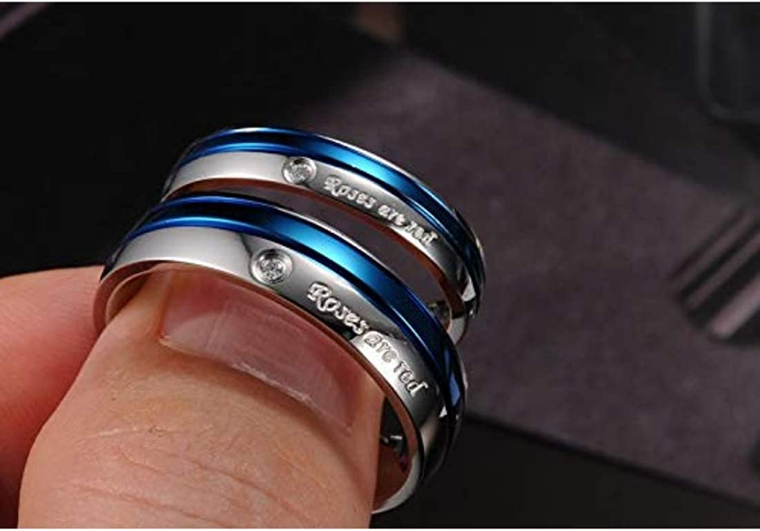 YouBella Jewellery Roses are Red Platinum Plated Never Fading Couple Rings for Girls//Women and Boys//Men
