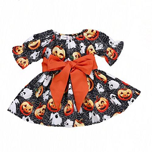 Baby Kids Girl Long Sleeve Pumpkin Spider Halloween