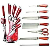 Cheap Imperial Collection IM-KST8 WRD Premium Stainless Steel Kitchen Knife Set With with Rotating Block Stand, Red Wine – 8 Piece set