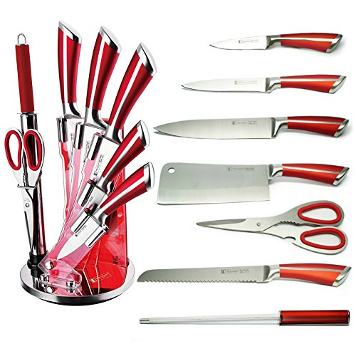 Imperial Collection IM-KST8 WRD Premium Stainless Steel Kitchen Knife Set With with Rotating Block Stand, Red Wine - 8 Piece set (Knife Holder Guy)