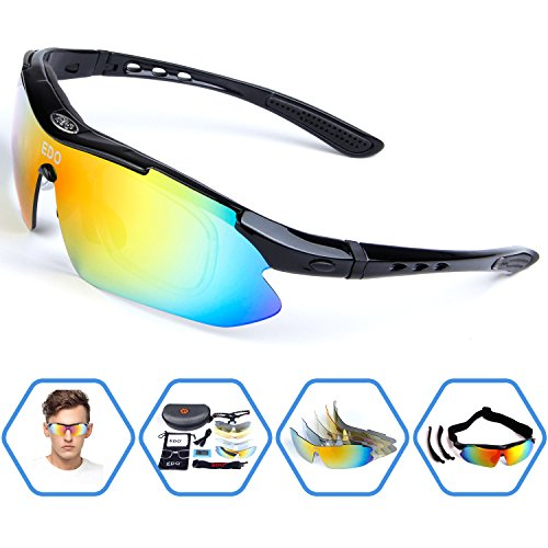 3923e952468 EDO Polarized Sports Sunglasses for Men Women Cycling Running Driving Fishing  Golf Baseball Glasses with 5 Interchangeable Lenses