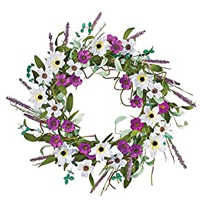 Collections Etc Wildflowers and Twigs Summer and Spring Floral Wreath for Front Door or Indoor, Purple and White 45