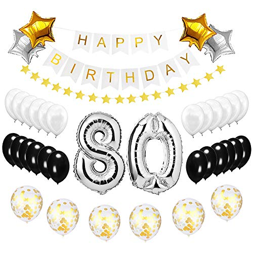 Best Happy to 80th Birthday Balloons Set - High Quality Birthday Theme Decorations for 80 Years Old Party Supplies Silver Black -