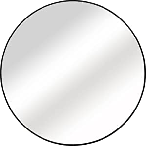 48 inch Round Mirror, Wall Mirror Large Circle Mirror Decor for Bedroom, Washrooms, Living Rooms & Entryway ,Black