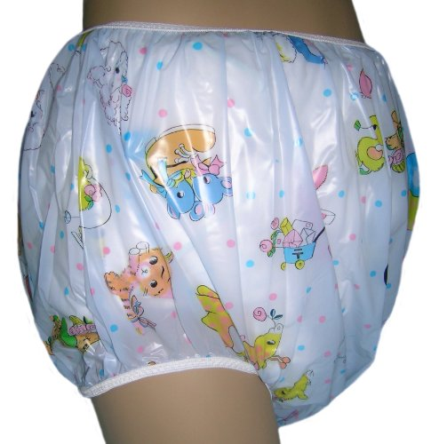 Baby Pants Blue Carousel Print Adult Pullon Plastic Pants - Extra Large