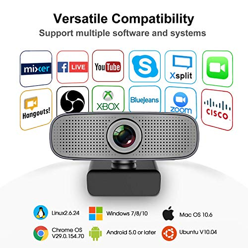 Webcam Streaming Xbox one YouTube OBS Twitch Compatible Skype Webcam Full  HD 1080P PC Camera Built-in Dual Microphones Computer Camera Compatible for