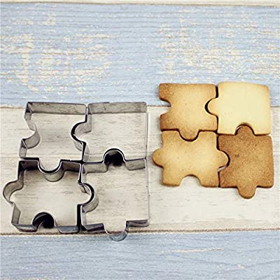 Cookie Cutter - 4pcs Set Biscuit Mould Stainless Steel Puzzle Piece Cookie Cutter Cake Frame Mold Baking Sugar - Leaf Peep Roller Love Christmas Kimono Sandwiches Cutter Mold Assortment Flowe