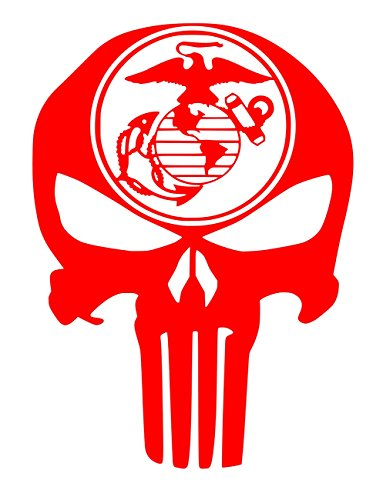 UR Impressions Red 11in. Marine Eagle Globe Anchor Punisher Skull Decal Vinyl Sticker Graphics for Car Truck SUV Van Wall Window Laptop|RED|11 X 8.5 inch|URI698-R
