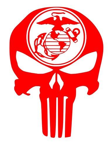 UR Impressions Red Marine Eagle Globe Anchor Punisher Skull Decal Vinyl Sticker Graphics for Car Truck SUV Van Wall Window Laptop|RED|5.5 X 4.3 Inch|URI330-R