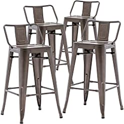 """Farmhouse Barstools TONGLI 26"""" Metal Bar Stools Set of 4 with Low Back,Rusty Counter Stools for Indoor Use, Kitchen & Dining Chairs are… farmhouse barstools"""