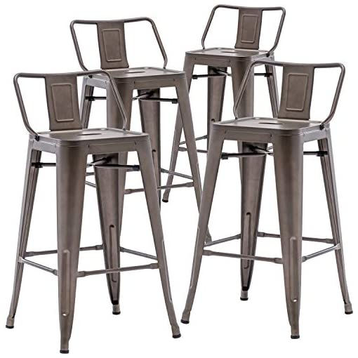 """Farmhouse Barstools TONGLI 26"""" Mental Bar Stools Set of 4 with Low Back,Rusty Counter Stools for Indoor & Outdoor Use, Kitchen & Dining… farmhouse barstools"""