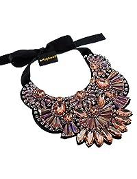 Women Statement Necklace Bling Choker 1 Pink Holylove Fashion Large Costume Jewelry with Gift Box