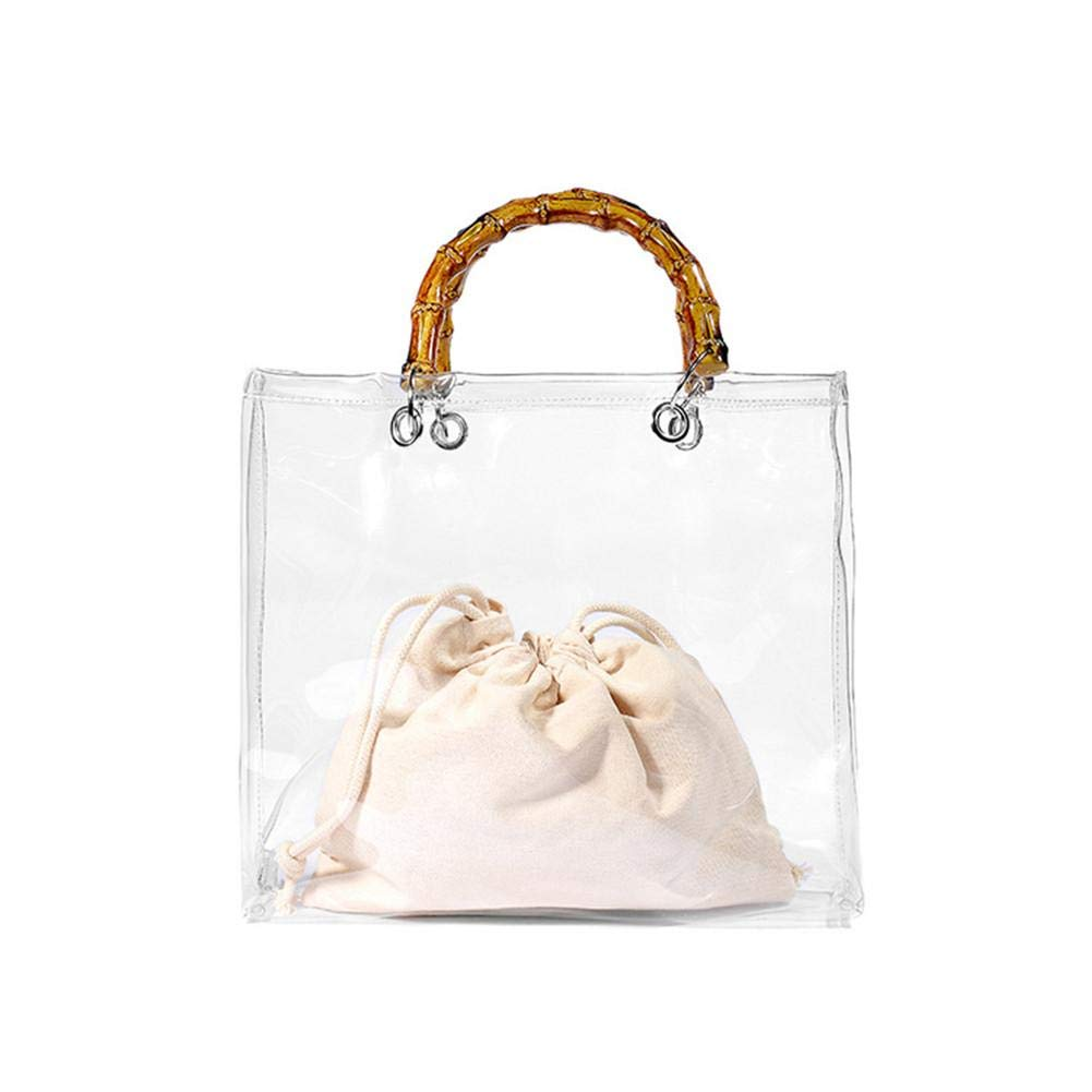 Dough.Q Tragbare Jelly Bag Handtasche Gro/ße Kapazit/ät Aus Bambus Mit Transparentem PVC-Strandtasche Mit Bambusgriff