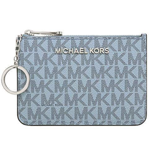Michael Kors Jet Set Travel Small Top Zip Signature Coin Pouch ID Card Case (Pale Blue/Navy) (Coin Holder Card Purse)