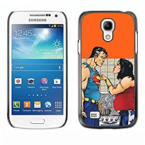 SAMSUNG Galaxy S4 mini (NOT FOR S4!!!) / i9190 / i9192 , Radio-Star - Cáscara Funda Case Caso De Plástico (Funny - Fat Superhero Couple)