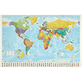 Amazoncom Laminated World Map Giant Poster X In - 40x60 us maps
