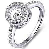 YL Sterling Silver Dancing Diamond Cubic Zirconia Wedding Anniversary Engagement Rings-Size8