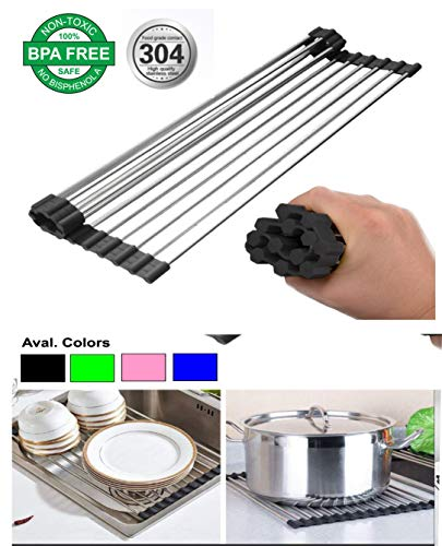 Pelotek: Over the Sink Dish Drying Rack | Large Fit All Adjustable Multi-function Dish Fruit Vegetable Drainer | Premium Quality 304 Rust Free Stainless Steel Easy Roll Up Space Saver Rack.(Black