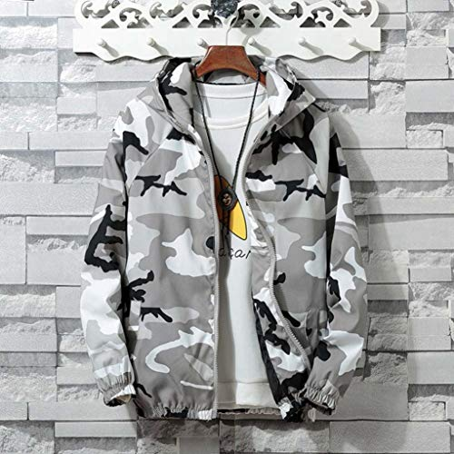New Jumper Mens Smoke (Amiley mens hoodies,Men's Fashion Camo Sport Hoodie Tops Full Zip Hooded Sweatshirt Outwear Jacket Coat (Large, Gray))