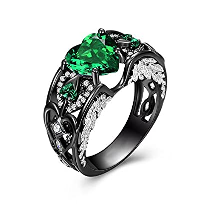 emerald g hot shaped heart item w claddagh ring irish sizes sterling cz silver