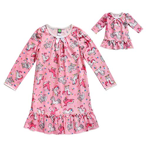 Dollie & Me Girls' Apparel Pink Printed Knit Match Doll Nightgown, Size 14 (Baby Doll Nightgown For Girls)