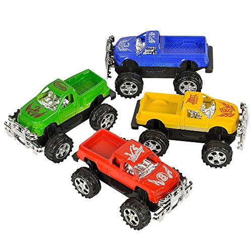 Pull Back Trucks - 24 Pack of Assorted Colors, Monster Truck Toys with Powerful Pullback Race Car Vehicles for Kids & Toddlers, Fun Party Favors For Child's Birthday Party - By Bedwina