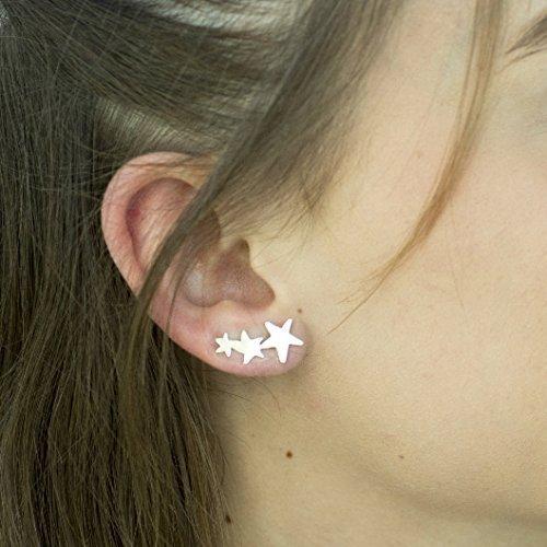 925 Sterling Silver Stars Ear Cuff Crawlers Earring Set, Ear Sweeps, Ear Climbers, Handmade Designer Cuff Stud Earrings, Artisan Jewelry