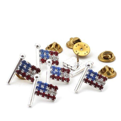 (Topwholesalejewel Silver Crystal Rhinestone Medium American USA Patriotic Flag Pin, 6 pcs)