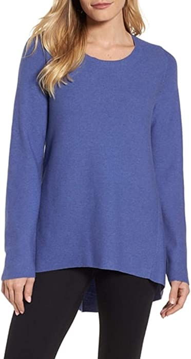 f15f783f62ce Eileen Fisher Periwinkle Peruvian Organic Cotton Links Round Neck Tunic  Sweater Large MSRP $238