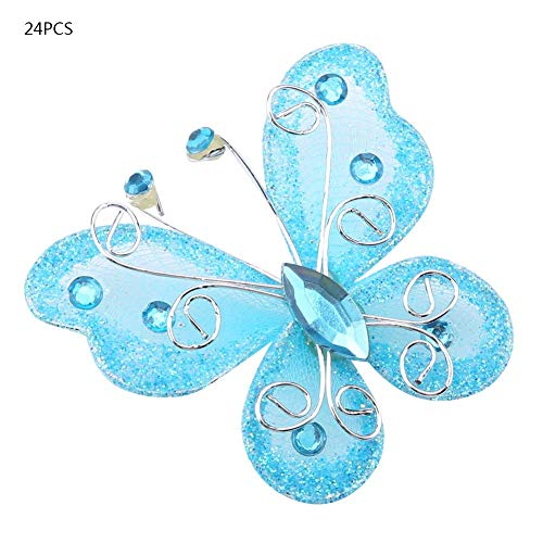 24pcs Christmas Butterfly Ornaments Mesh Wire Glitter Butterfly Wedding Party Clothing Wall Tree Decoration DIY Supplies(Blue)