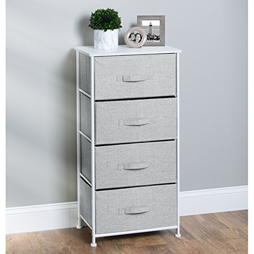mDesign Fabric 4-Drawer Storage Organizer Unit for Bedroom, Nursery, Office - Gray Photo #3