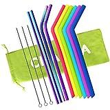 Reusable Straws, Silicone Straws & Stainless Steel Straws, Fit into 20oz 30oz Yeti Rtic Ozark Tumblers, 10 Pack