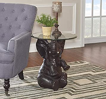 Powell s Furniture 162001 Ernie Elephant, Dark Brown Accent Table,