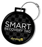 Dynotag Web Enabled Smart Deluxe Steel Luggage ID Tag + Braided Steel Loop, with DynoIQ & Lifetime Recovery Service. (Classic Black)