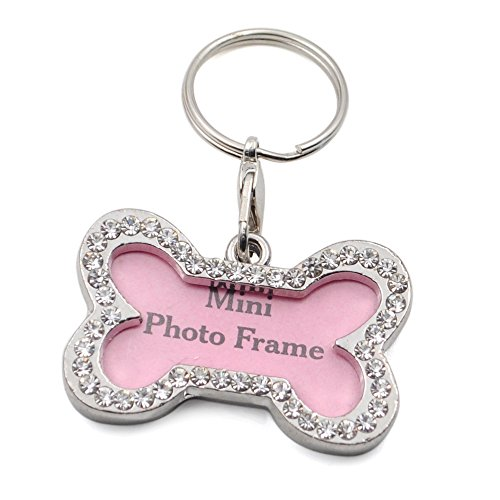 GOGO Pet ID Tag Rhinestone Bone Collar Charm, Bone Shape Photo Frame for Dog and Cat ID Tags-L