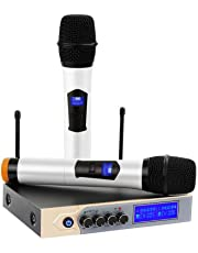 Wireless Microphone System, ARCHEER UHF Dual Channel Karaoke Microphone Bluetooth with LCD Display, Wireless Handheld Microphone with Karaoke Mixer for Home Party, Karaoke, Meeting, Outdoor Wedding