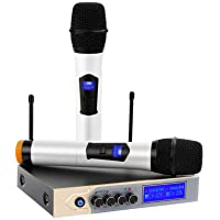UHF Wireless Microphone System with LCD Display, ARCHEER Dual Channel Bluetooth Microphone Karaoke Mixer with 2 Handheld Microphones for Home Party, Karaoke, Speech, Outdoor Wedding, Conference
